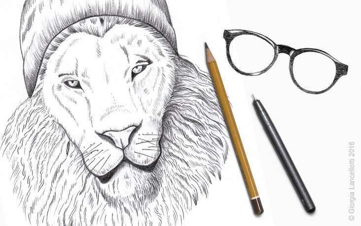 BACK TO DRAWING – HIPSTER LION