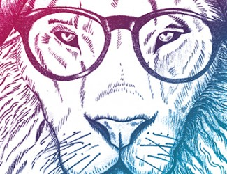 Hipster Lion Drawing